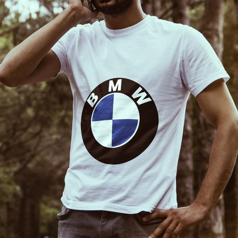 Egyedi autós póló BMW képpel 3b7c7580cd